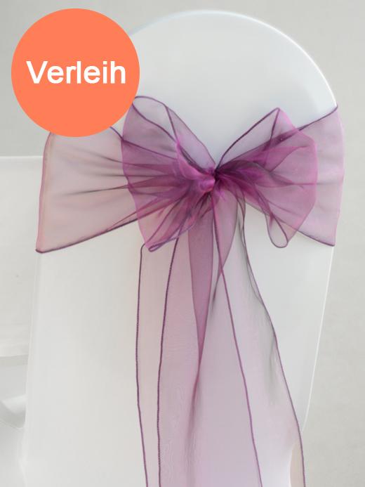 Organza stuhlschleifen in aubergine mieten for Hochzeitsdeko verleih