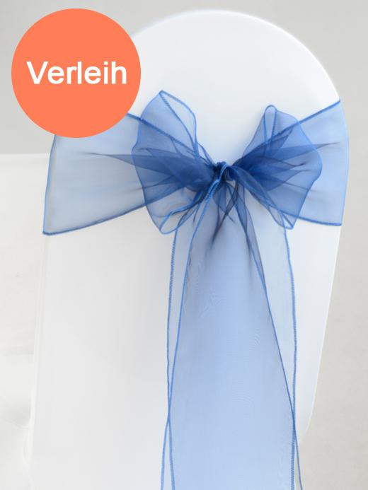 Organza stuhlschleifen in dunkelblau mieten for Hochzeit verleih