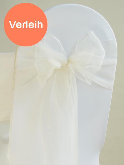 Organza stuhlschleifen in elfenbein mieten for Hochzeit verleih