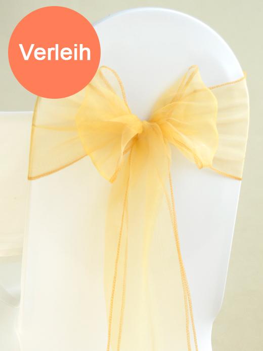 Organza stuhlschleifen in gold mieten for Hochzeit verleih