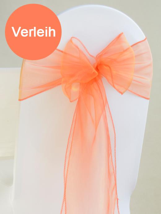 Organza stuhlschleifen in orange mieten for Hochzeit verleih
