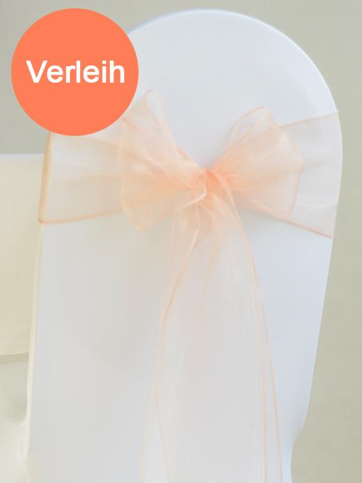 Organza stuhlschleifen in pfirsich mieten for Dekoration leihen
