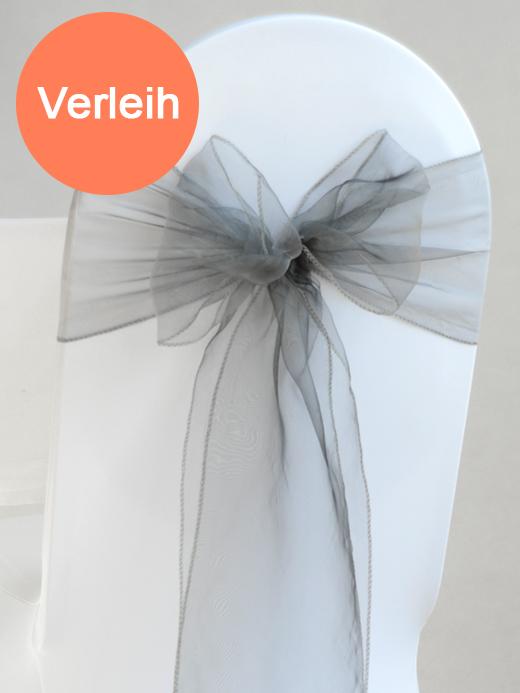Organza stuhlschleifen in silber mieten for Hochzeit verleih