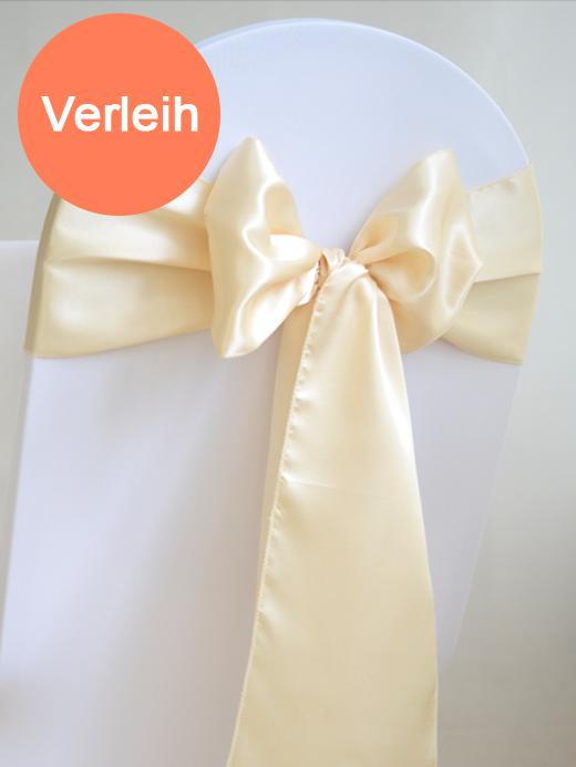 Satin schleifen f r st hle creme for Hochzeit verleih