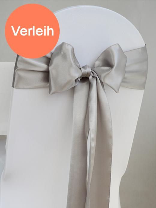Satin schleifen f r st hle silber for Hochzeit verleih
